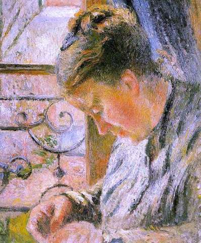 Camille Pissarro Portrait of Madame Pissarro Sewing near a Window - Hand Painted Oil Painting