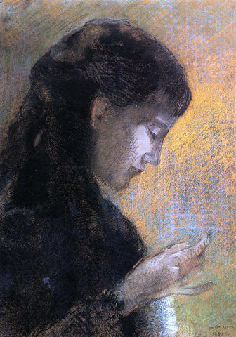 Odilon Redon Portrait of Madame Redon Embroidering - Hand Painted Oil Painting