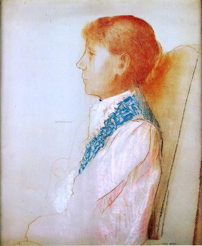 Odilon Redon Portrait of Madame Redon in Profile - Hand Painted Oil Painting