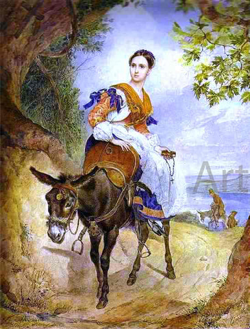 Karl Pavlovich Brulloff A Portrait of O. P. Ferzen on a Donkeyback - Hand Painted Oil Painting