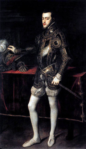 Titian Portrait of Philip II in Armour - Hand Painted Oil Painting