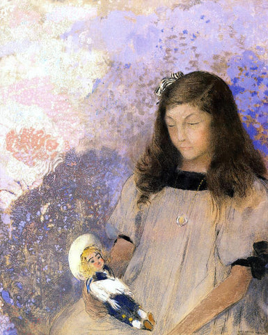 Odilon Redon Portrait of Simone Fayet - Hand Painted Oil Painting