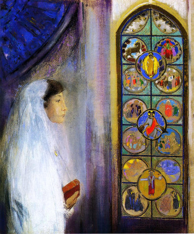 Odilon Redon Portrait of Simone Fayet in Holy Communion - Hand Painted Oil Painting