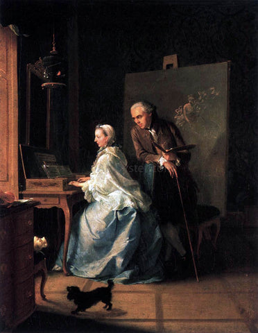 The Elder Johann Heinrich Tischbein Portrait of the Artist and His Wife at the Spinet - Hand Painted Oil Painting
