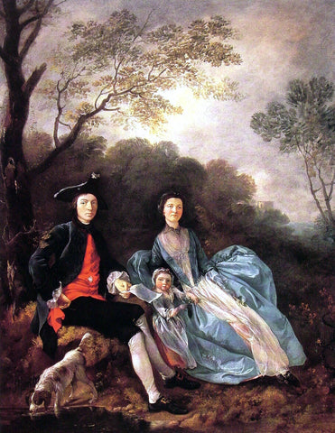 Thomas Gainsborough Portrait of the Artist with his Wife and Daughter - Hand Painted Oil Painting