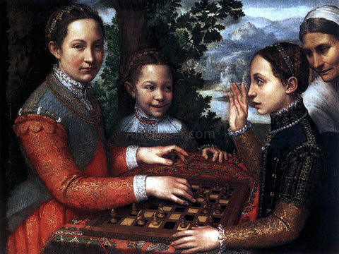 Sofonisba Anguissola Portrait of the Artist's Sisters Playing Chess - Hand Painted Oil Painting
