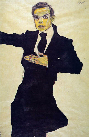 Egon Schiele Portrait of the Painter Max Oppenheimer - Hand Painted Oil Painting