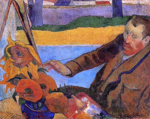 Paul Gauguin Portrait of Vincent van Gogh Painting Sunflowers (also known as Villa Rotunda by Emma Ciardi) - Hand Painted Oil Painting