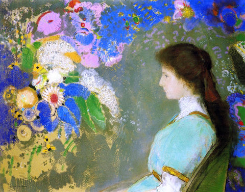 Odilon Redon Portrait of Violette Heyman - Hand Painted Oil Painting