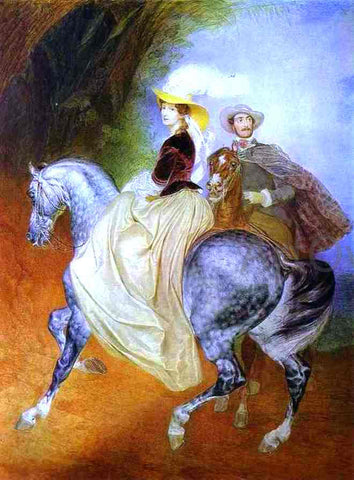 Karl Pavlovich Brulloff Portrait of Ye. Mussart and E. Mussart (Riders) - Hand Painted Oil Painting
