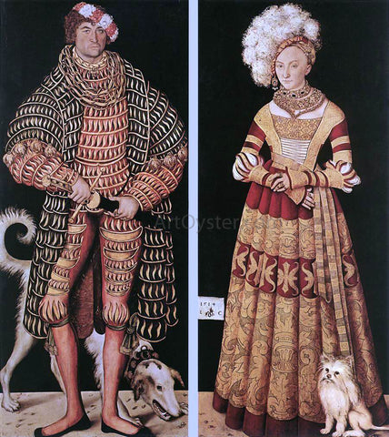 The Elder Lucas Cranach Portraits of Henry the Pious, Duke of Saxony and His Wife Katharina Von Mecklenburg - Hand Painted Oil Painting