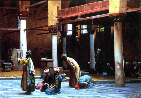 Jean-Leon Gerome Prayer in a Mosque - Hand Painted Oil Painting