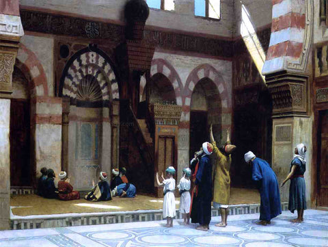 Jean-Leon Gerome Prayer in the Mosque of Caid Bey, in Cairo - Hand Painted Oil Painting