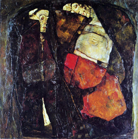 Egon Schiele Pregnant Woman and Death - Hand Painted Oil Painting