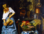 Emanuele Serrano Preparing the Meal - Hand Painted Oil Painting