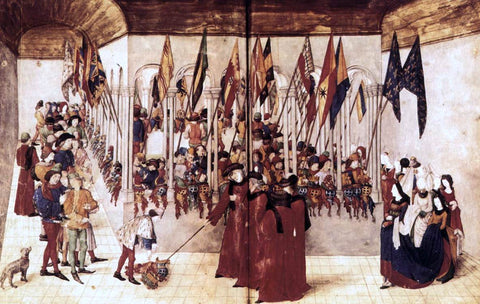 Barthelemy D'Eyck Presentation of Flags and Helms - Hand Painted Oil Painting