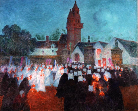 Ferdinand Du Puigaudeau Procession at Nenvic - Hand Painted Oil Painting