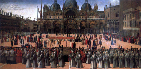 Gentile Bellini Procession in Piazza S. Marco - Hand Painted Oil Painting
