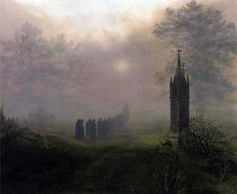 Ernst Ferdinand Oehme Procession in the Mist - Hand Painted Oil Painting
