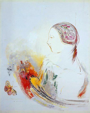 Odilon Redon Profile of a Child (also known as Profile of a Girl with Bird of Paradise) - Hand Painted Oil Painting