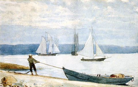 Winslow Homer Pulling the Dory - Hand Painted Oil Painting