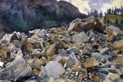 John Singer Sargent Purtud, Alpine Scene and Boulders - Hand Painted Oil Painting
