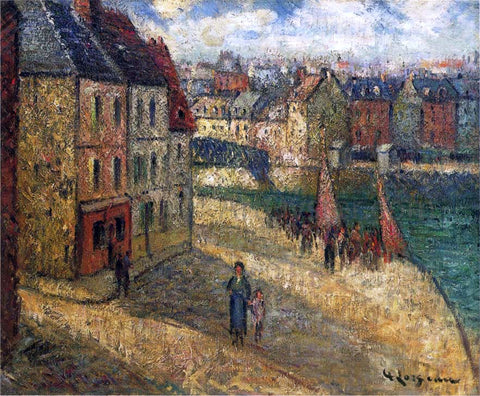 Gustave Loiseau Quay at Dieppe - Hand Painted Oil Painting