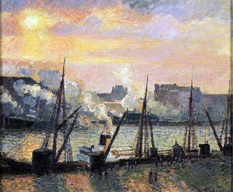 Camille Pissarro Quay in Rouen: Sunset - Hand Painted Oil Painting