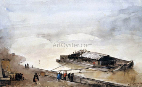 Francois-Marius Granet Quay of the Seine with Barge, Fog Effect - Hand Painted Oil Painting