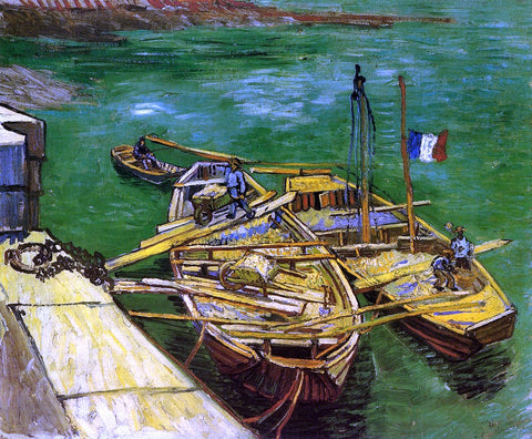 Vincent Van Gogh A Quay with Men Unloading Sand Barges - Hand Painted Oil Painting