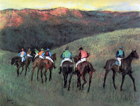 Edgar Degas Racehorses in a  Landscape - Hand Painted Oil Painting