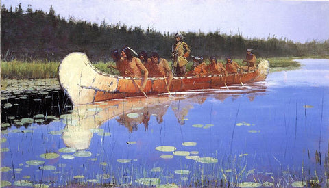 Frederic Remington Radisson and Groseilliers - Hand Painted Oil Painting