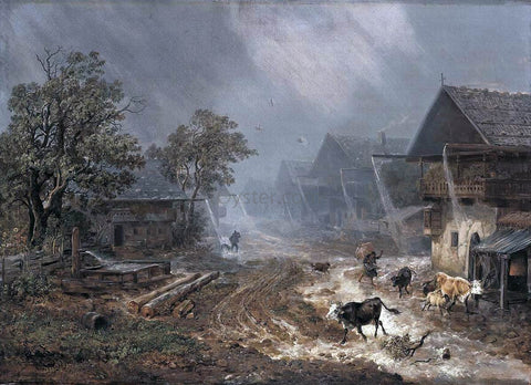 Heinrich Burkel A Rain Shower in Patenkirchen - Hand Painted Oil Painting