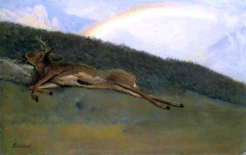 Albert Bierstadt Rainbow over a Fallen Stag - Hand Painted Oil Painting