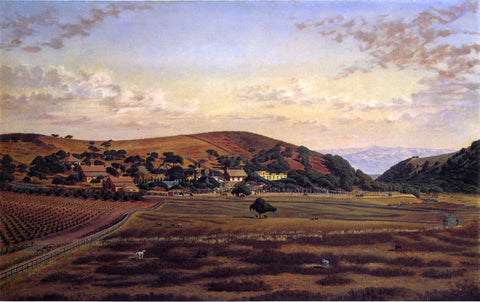 Joseph Lee Ralston Hall and its Grounds, San Mateo County - Hand Painted Oil Painting