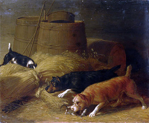 Thomas Hewes Hinckley Rats Amongst the Barley Sheaves - Hand Painted Oil Painting