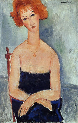 Amedeo Modigliani A Redhead Wearing a Pendant - Hand Painted Oil Painting
