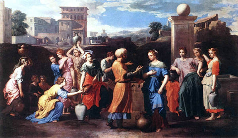 Nicolas Poussin Rebecca at the Well - Hand Painted Oil Painting