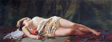 Jean Frederic Bazille Reclining Nude - Hand Painted Oil Painting