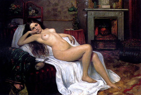 Sergei Semenovich Egornov A Reclining Nude On A Draped Sofa - Hand Painted Oil Painting