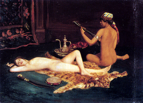 Hermann Fenner Behmer Reclining Odalisque - Hand Painted Oil Painting