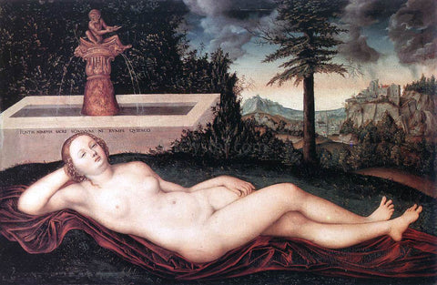 The Elder Lucas Cranach Reclining River Nymph at the Fountain - Hand Painted Oil Painting