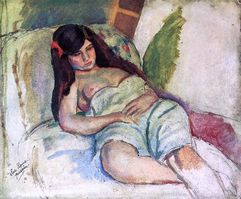 Jules Pascin Reclining Woman - Hand Painted Oil Painting