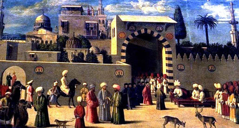 Gentile Bellini Recognition of the Ambassador Domenico Trevisano at Alicatre - Hand Painted Oil Painting