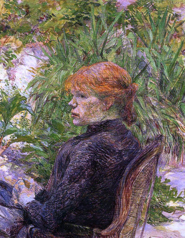 Henri De Toulouse-Lautrec Red Haired Woman Seated in the Garden of M. Forest - Hand Painted Oil Painting