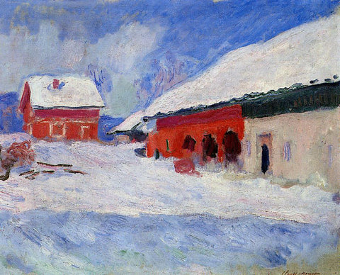 Claude Oscar Monet Red Houses at Bjornegaard in the Snow, Norway - Hand Painted Oil Painting