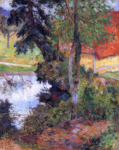 Paul Gauguin Red Roof by the Water - Hand Painted Oil Painting