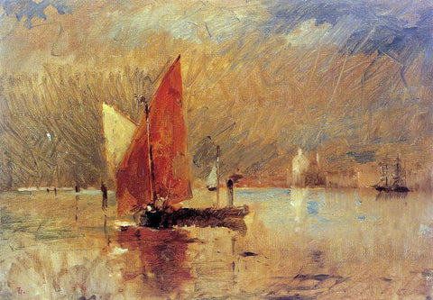 Frank Duveneck Red Sail in the Harbor at Venice - Hand Painted Oil Painting