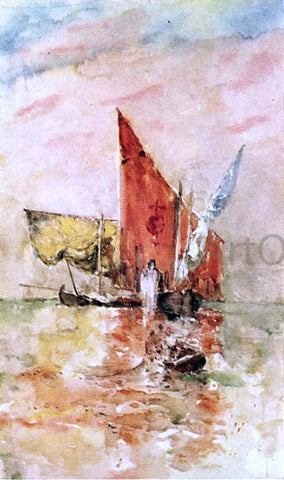 Frank Duveneck Red Sail, Venice - Hand Painted Oil Painting