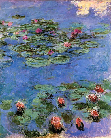 Claude Oscar Monet Red Water-Lilies - Hand Painted Oil Painting
